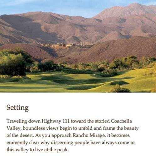 Ritz Carlton Rancho Mirage - Setting